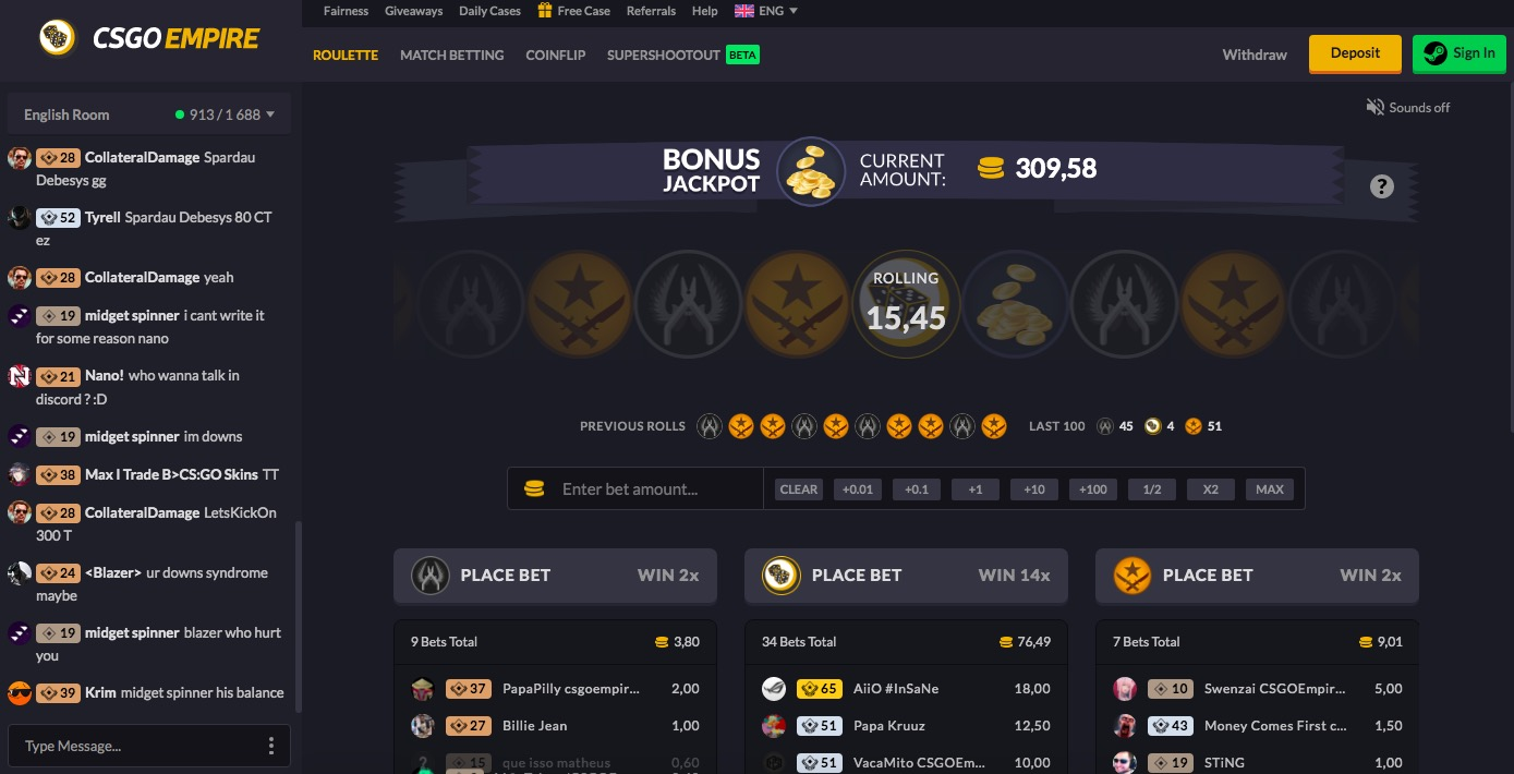 CSGOEmpire main page