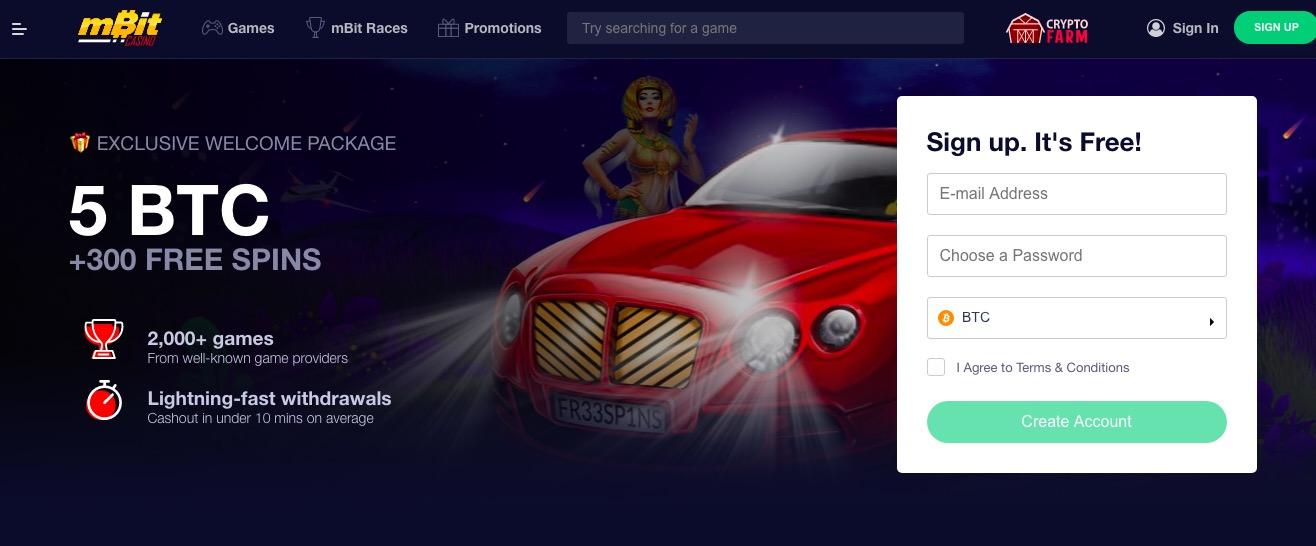 Mbit Casino main page
