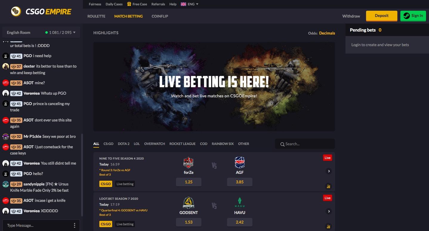 CSGOEmpire match betting