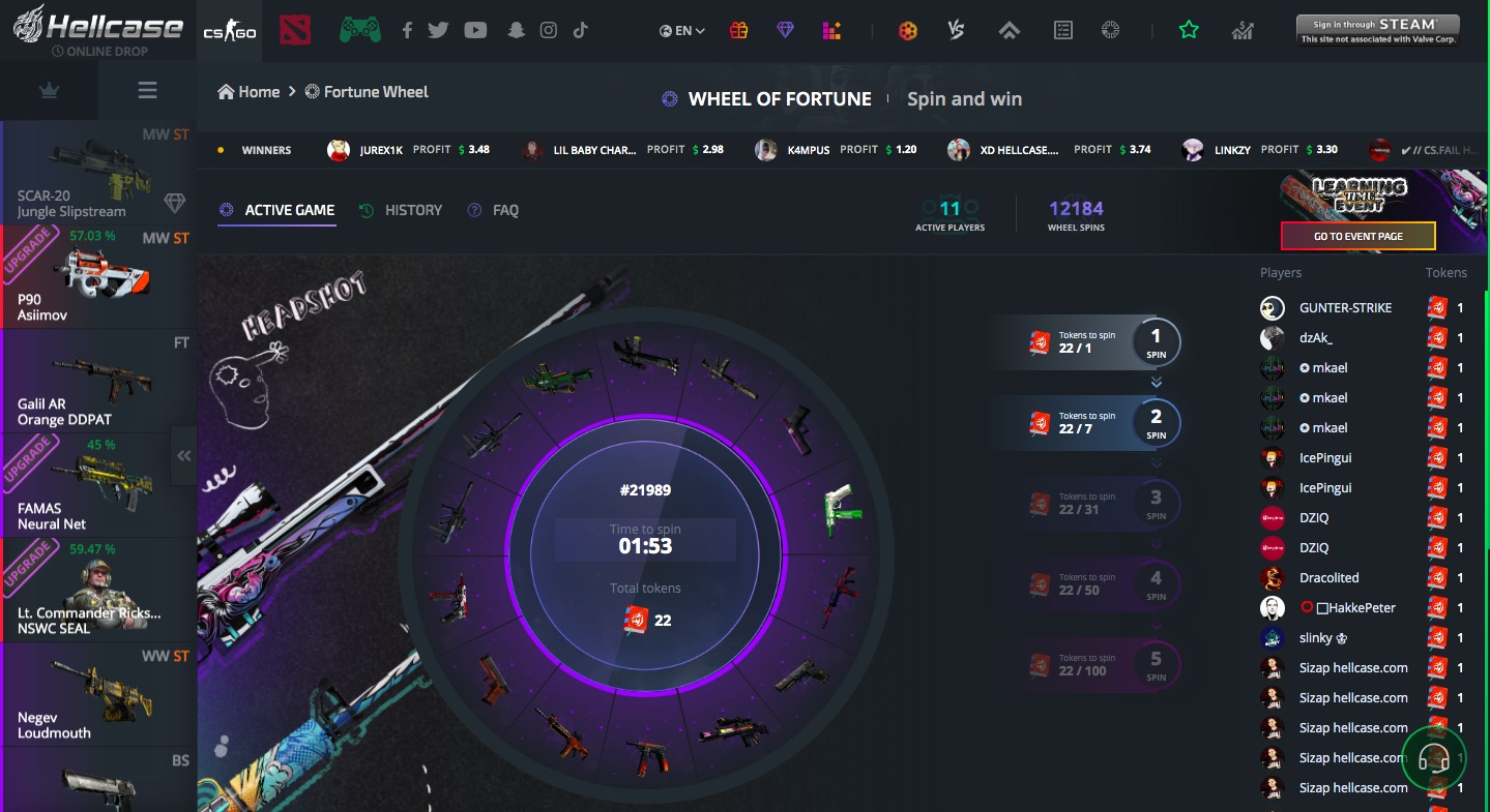 Hellcase fortune wheel