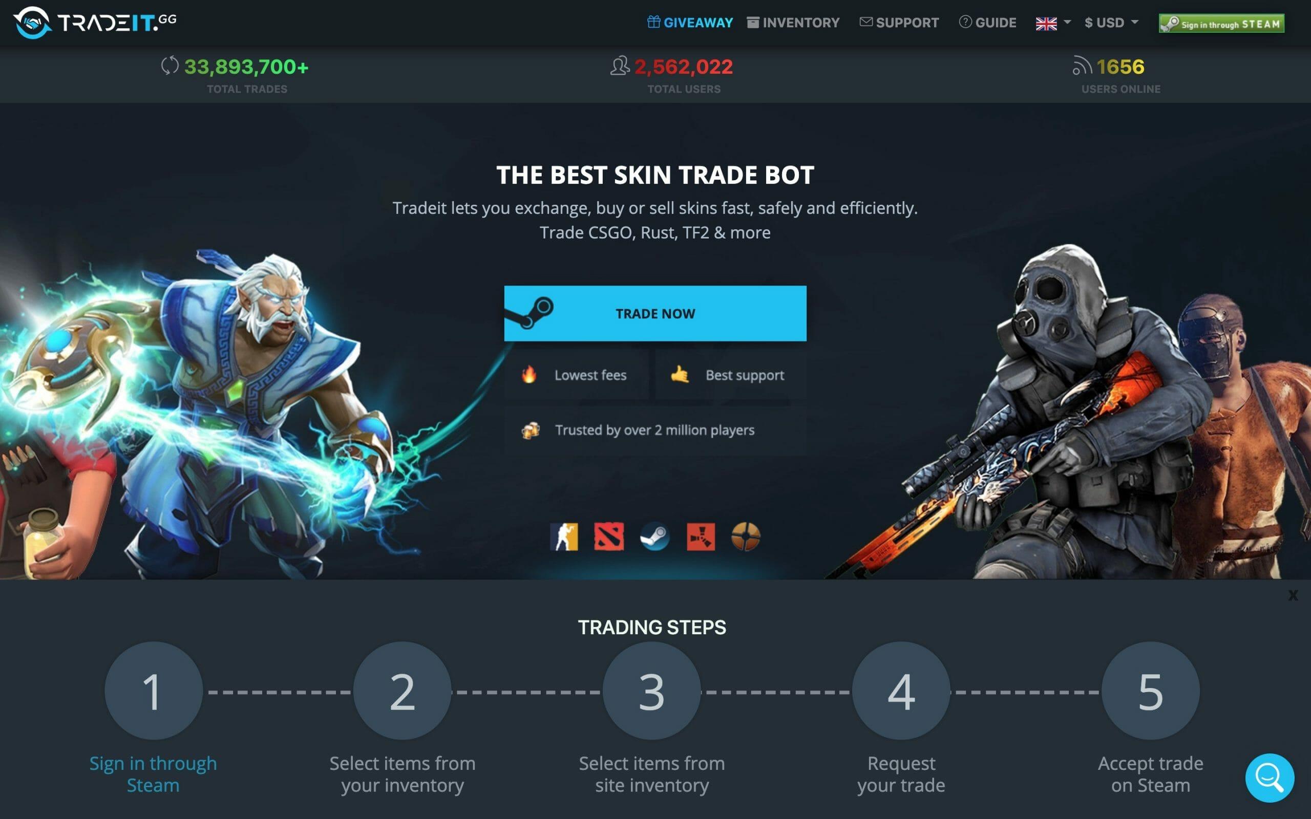 Tradeit.gg main page