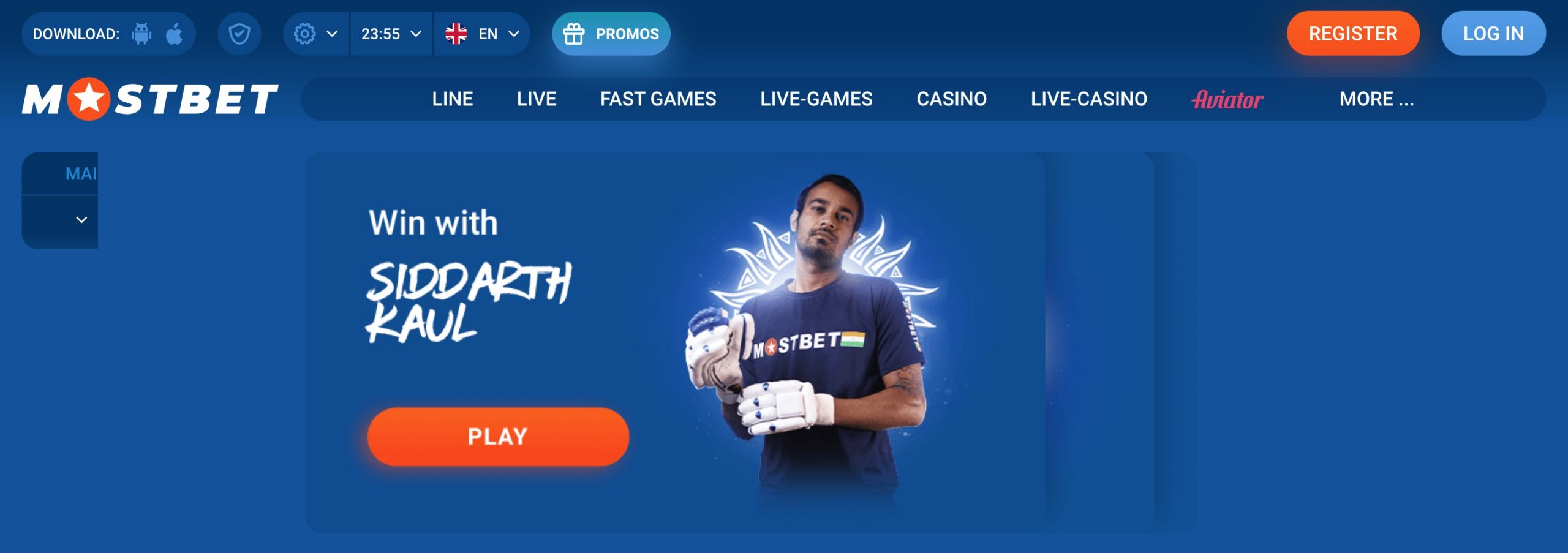 MostBet main page
